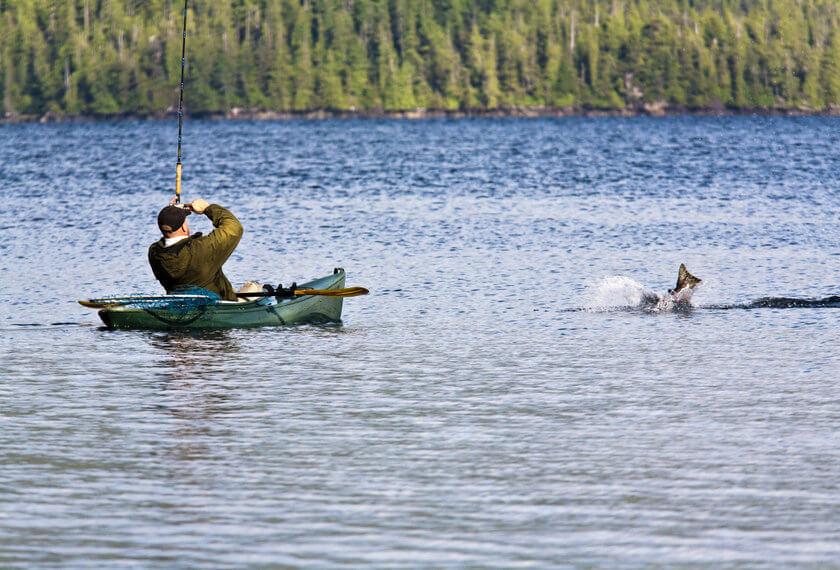 angler fishing salmon from sit-in fishing kayak
