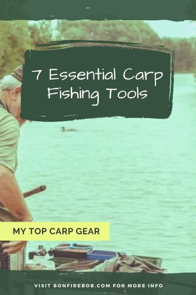 7 essential carp fishing tools. This is my list on the top carp gear; carp landing net, unhooking mat, rod rests, bite indicators, rig ruller, bait drill combination etc. #fishingforcarp #tipscarp #fishing #carpbite #fishingtips #carpfishing #catchingcarp #fishingbeginners #carpspawn #carptips #findingcarp