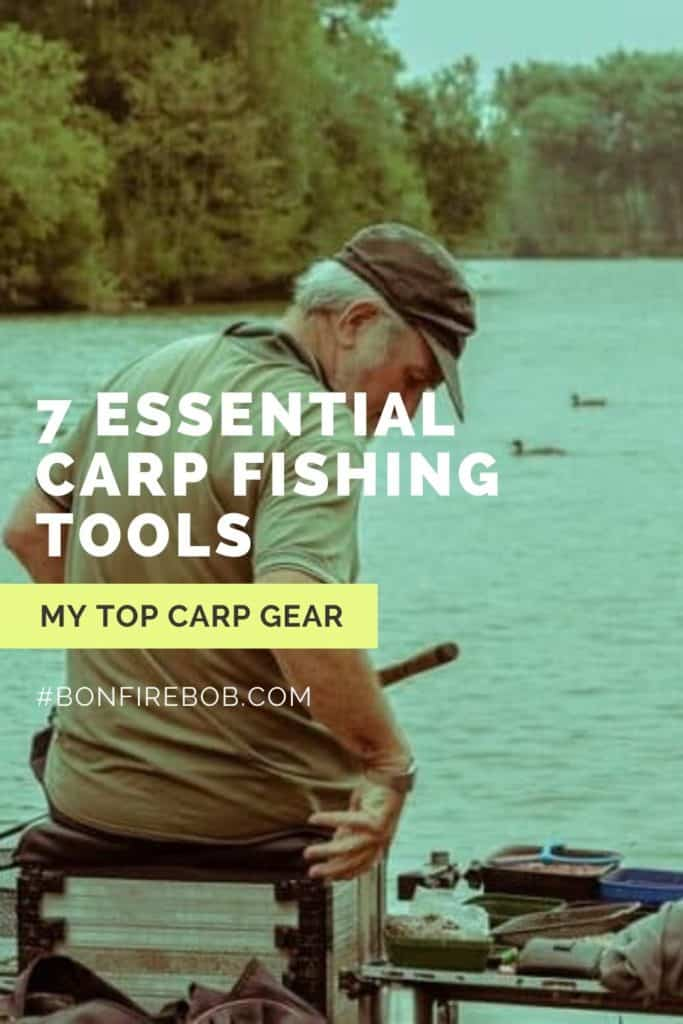 7 essential carp fishing tools. This is my list on the top carp gear; carp landing net, unhooking mat, rod rests, bite indicators, rig ruller, bait drill combination etc. #fishingbeginners #carpspawn #fishingforcarp #tipscarp #fishing #carpbite #fishingtips #carpfishing #catchingcarp #carptips #findingcarp