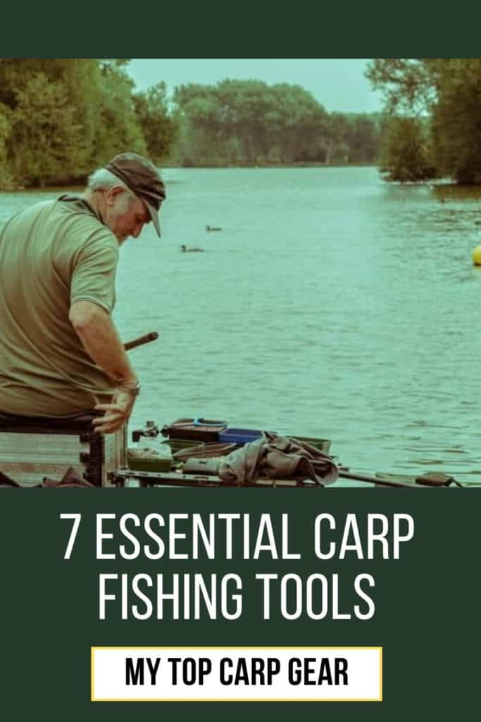 7 essential carp fishing tools. This is my list on the top carp gear; carp landing net, unhooking mat, rod rests, bite indicators, rig ruller, bait drill combination etc. #fishingforcarp #tipscarp #fishing #carptips #findingcarp #fishingbeginners #carpspawn #carpbite #fishingtips #carpfishing #catchingcarp