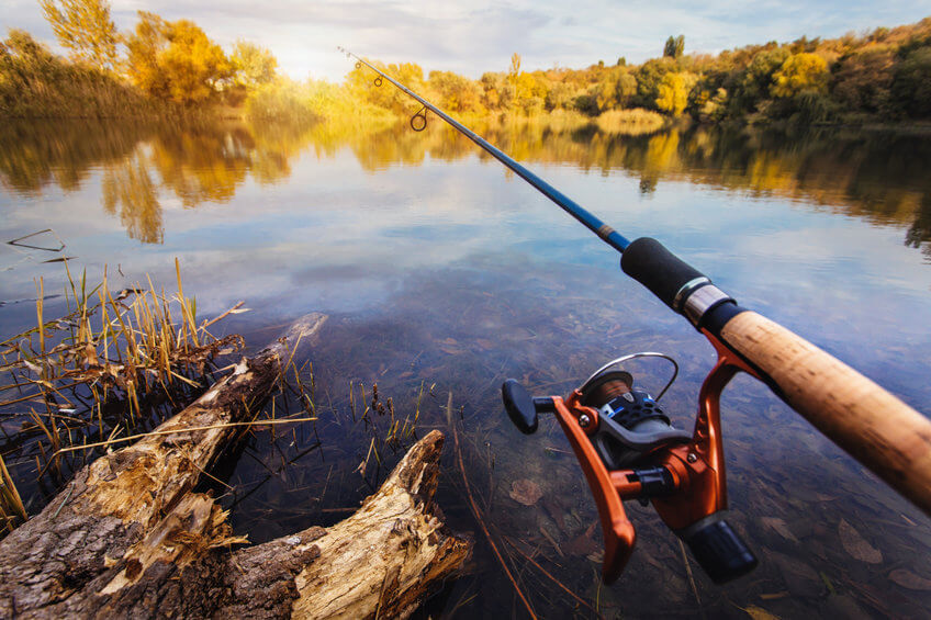fisherman fishing with spinning rod in pond