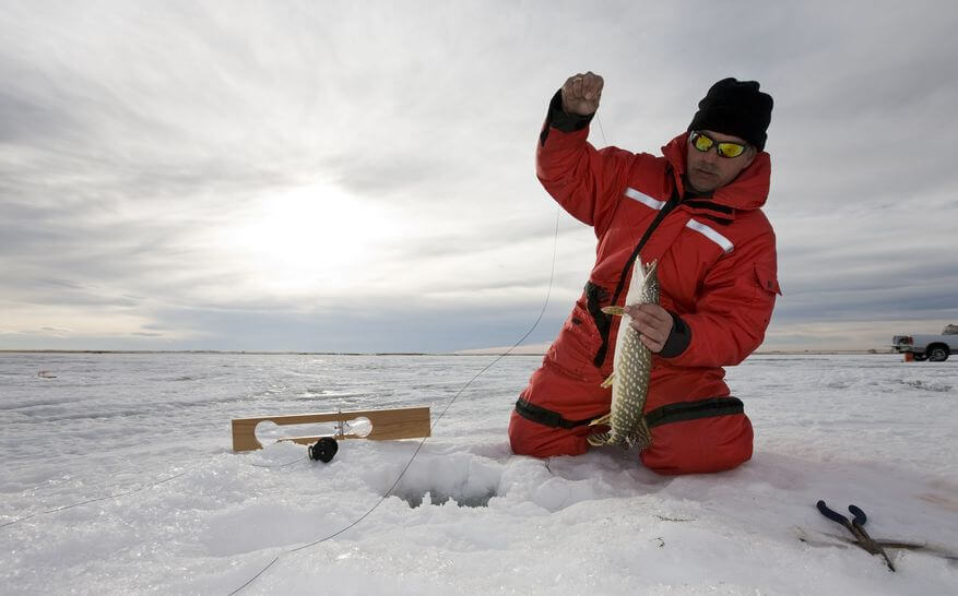 fisherman with a northern pike on a frozen lake