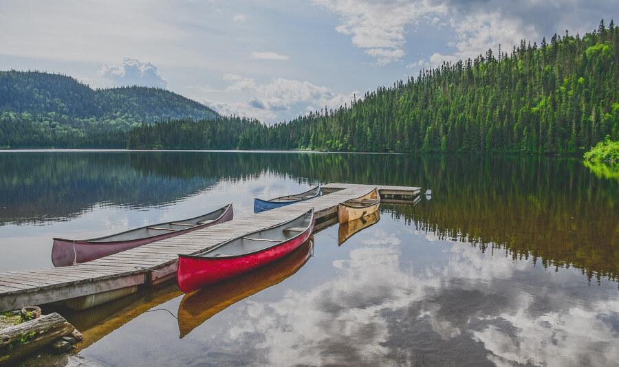 fishing canoes on lake