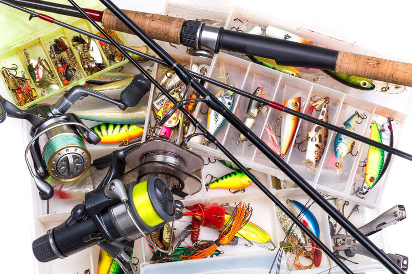 fishing equipment lures tackles hooks in tackle box