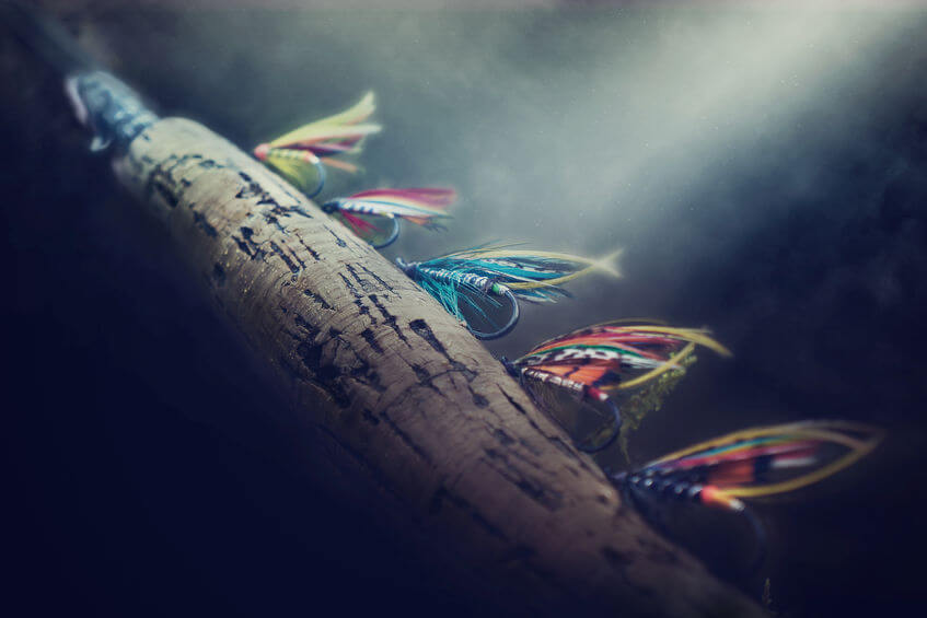 fly fishing flies and fly fishing rod