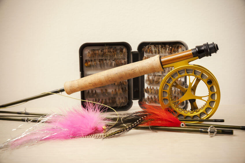 fly fishing rod reel combo and flies