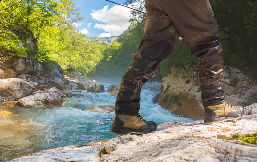 fly fishing wading boots close up