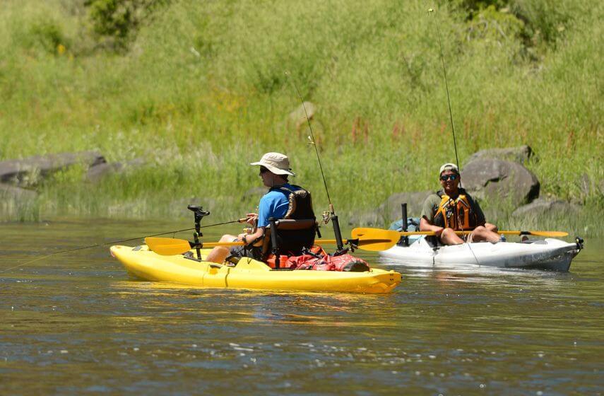 two man kayak fishing in summer