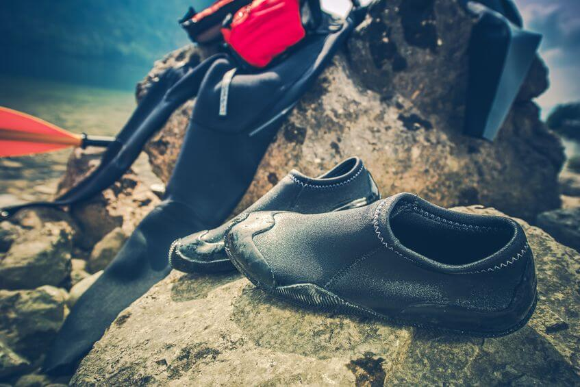 water sports kayaking wetsuit and water shoes